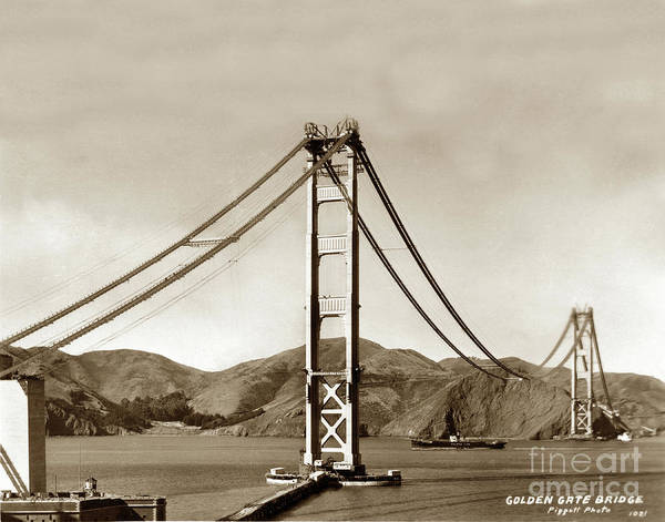 Photograph - Looking North At The Golden Gate Bridge Under Construction With No Deck Yet 1936 by California Views Archives Mr Pat Hathaway Archives