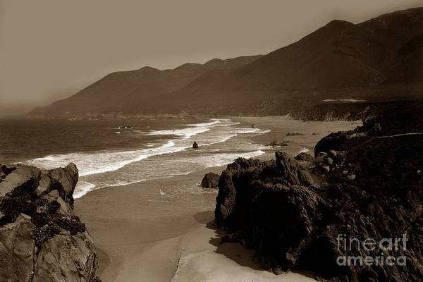 Photograph - Looking North On Garrapata Beach Big Sur 1928 by California Views Archives Mr Pat Hathaway Archives