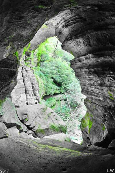 Photograph - Looking Out Of Rock House Hocking Hills Ohio 2 by Lisa Wooten