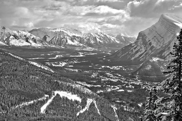 Photograph - Looking Over The Banff Valley Black And White by Adam Jewell