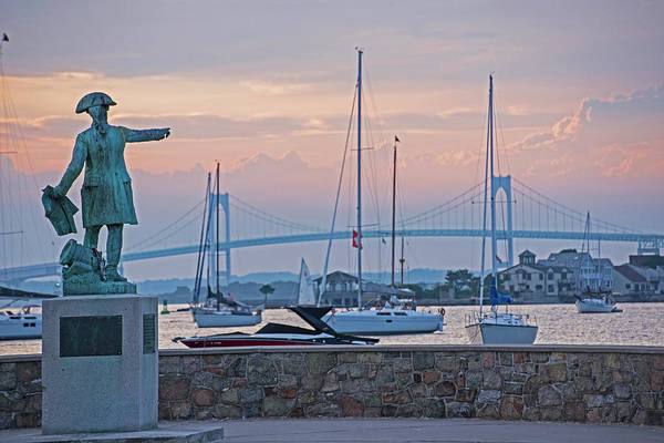 Photograph - Looking Over The Harbor Pell Bridge Newport Harbor Newport Ri Rhode Island Statue by Toby McGuire