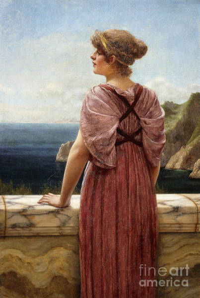 Lady In Waiting Painting - Looking Seaward by John William Godward