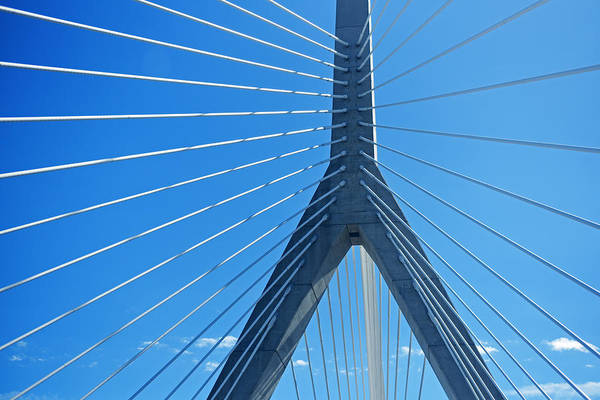 Photograph - Looking Up At The Lenny Zakim Bridge Boston Ma by Toby McGuire