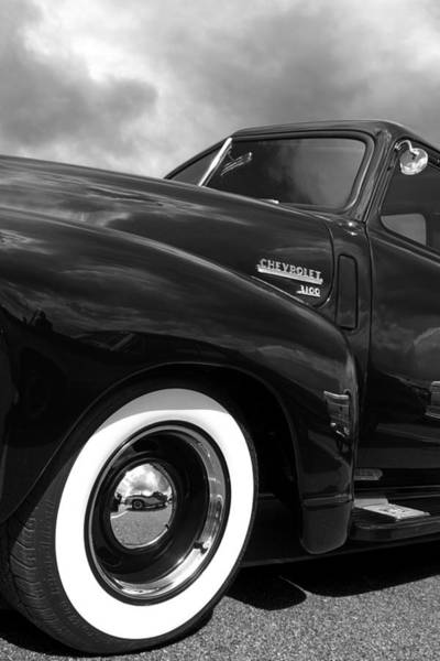 Photograph - Looking Up To You - 1952 Chevy Truck In Black And White by Gill Billington