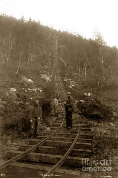 Photograph - Looking Up Tramway At Heney H. C. Barley Photo Circa 1898 by California Views Archives Mr Pat Hathaway Archives