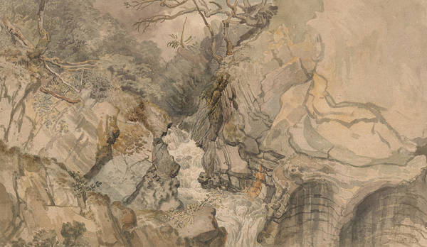 Wales Drawing - Looking Upwards From Devil's Bridge, Cardiganshire, Wales by James Ward