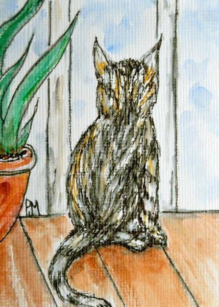 Wall Art - Painting - Lookout Cat by Pete Maier