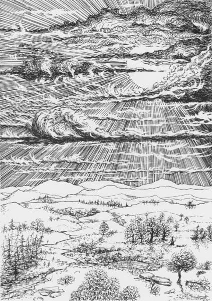 Drawing - Looming Snowstorm by Charles Cater