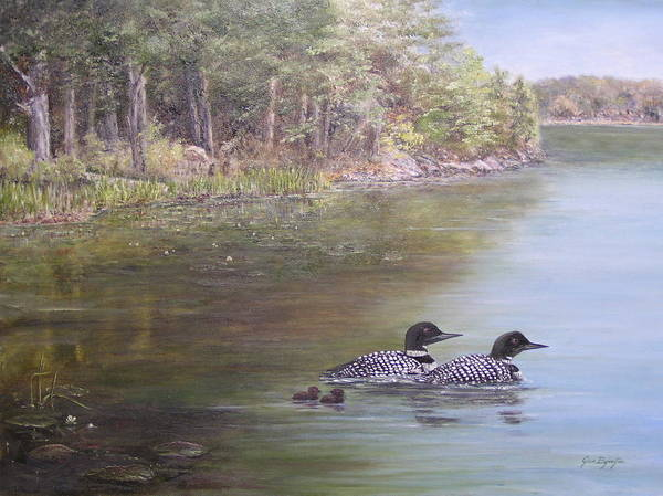 Painting - Loon Family 1 by Jan Byington