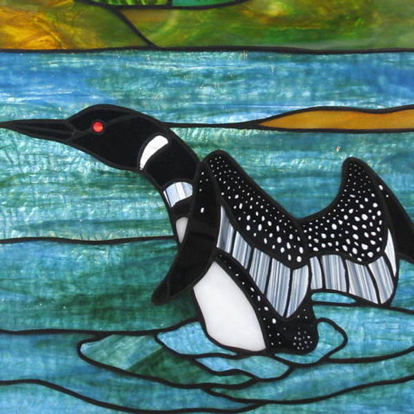 Glass Art - Loon by Jane Croteau