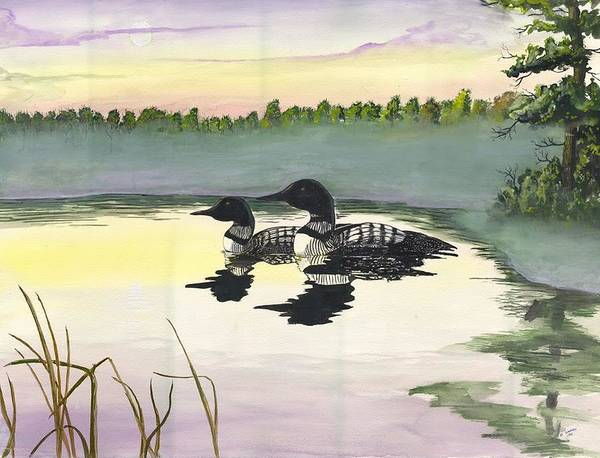 Painting - Loons by Darren Cannell