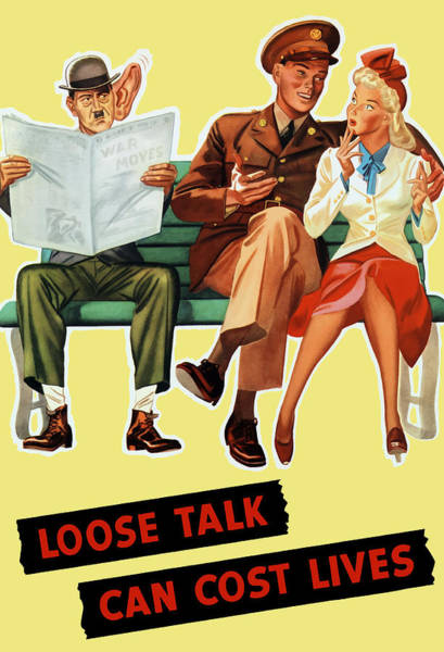 Wwii Painting - Loose Talk Can Cost Lives - World War Two by War Is Hell Store