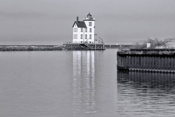 Photograph - Lorain Harbor Light Black And White by Dan Sproul