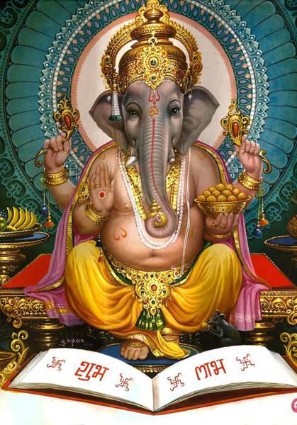 Hindu Goddess Wall Art - Mixed Media - Lord Ganesha by Magdalena Walulik