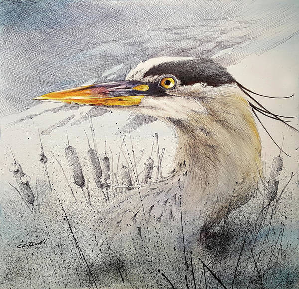 Great Blue Heron Mixed Media - Lord Of The Marsh by Eric Dull