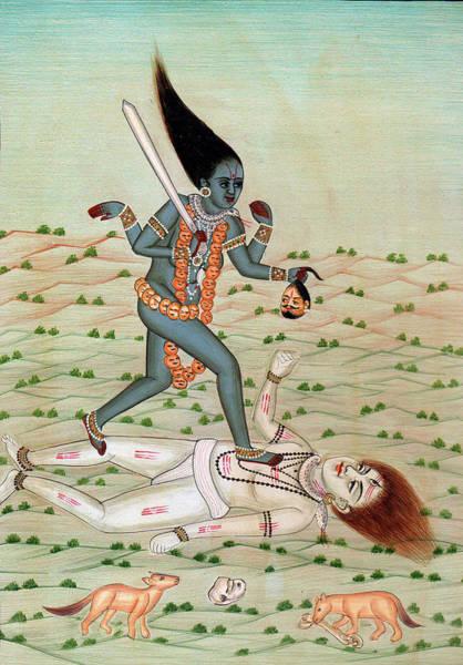 Destructive Painting - Lord Shiva Under The Feet Of Maa Kaali Indian Miniature Painting Watercolor Artwork Desert Animals by Ravi Sharma