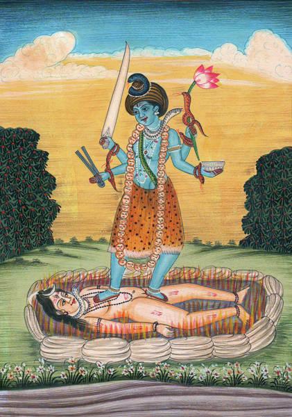 Destructive Painting - Lord Shiva Under The Feet Of Maa Kaali Indian Miniature Painting Watercolor Artwork Sunrise Flower by Ravi Sharma