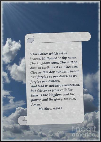 Digital Art - Lord's Prayer On Scroll by Charles Robinson