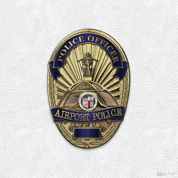 Digital Art - Los Angeles Airport Police Division - L A X P D  Police Officer Badge Over White Leather by Serge Averbukh