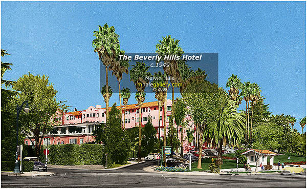 Wall Art - Painting - Los Angeles Art    Beverly Hills Hotel Circa 1949 by Melvin Hale