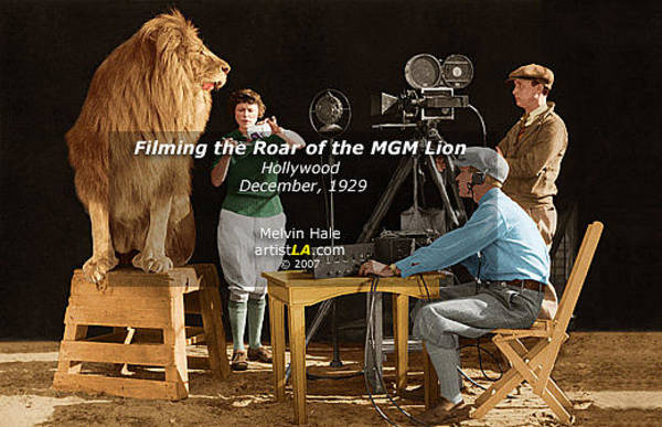 Wall Art - Painting - Los Angeles Art Entitled Filming The Roar Of The Mgm Lion by Melvin Hale