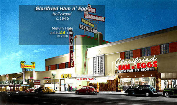 Wall Art - Painting - Los Angeles Art Entitled Glorifried Ham And Eggs At Brenemans Hollywood Circa 1940s by Melvin Hale