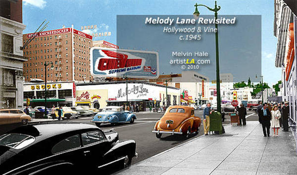 Wall Art - Painting - Los Angeles Art Entitled Melody Lane At Hollywood And Vine Circa 1940 by Melvin Hale