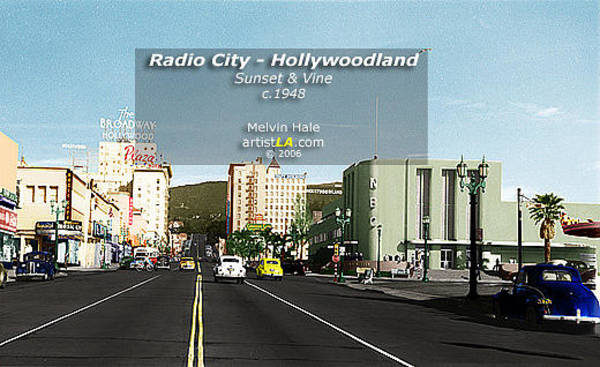 Wall Art - Painting - Los Angeles Art Entitled Radio City Hollywoodland Circa 1945 by Melvin Hale
