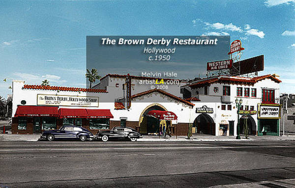 Wall Art - Painting - Los Angeles Art Entitled The Brown Derby Restaurant Hollywood Circa 1940s by Melvin Hale