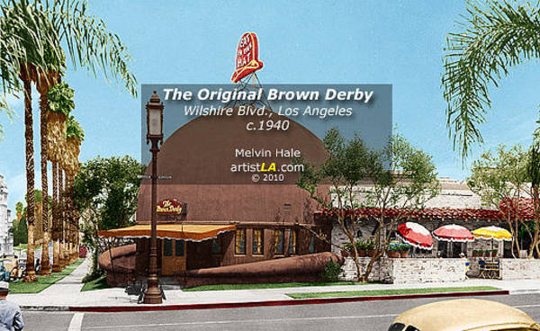 Wall Art - Painting - Los Angeles Art Entitled The Original Brown Derby Restaurant Hollywood Circa 1940 - Melvin Hale by Melvin Hale