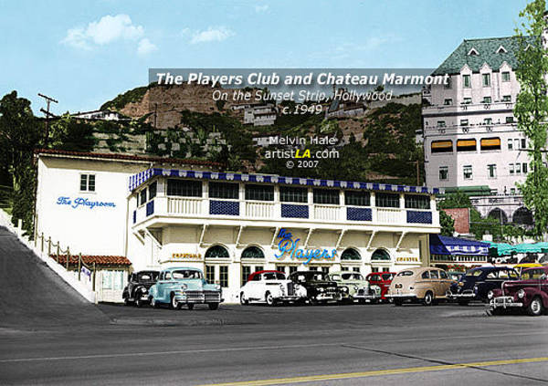 Wall Art - Painting - Los Angeles Art Entitled The Players Club And Chateau Marmont Circa 1949 by Melvin Hale
