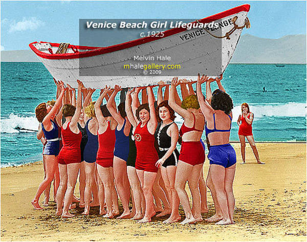 Wall Art - Painting - Los Angeles Art Entitled Venice Beach Girl Lifeguards Circa 1925 by Melvin Hale