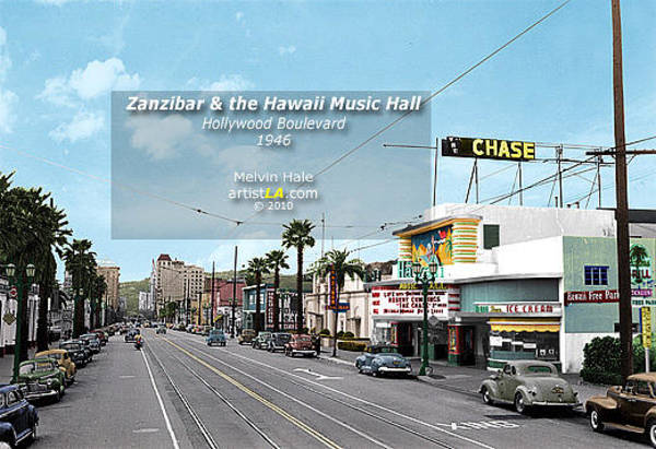 Wall Art - Painting - Los Angeles Art Entitled Zanzibar And The Hawaii Music Hall Circa 1946 by Melvin Hale