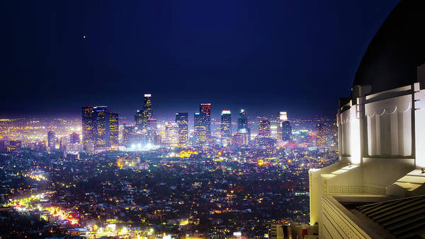 Los Angeles Skyline Photograph - Los Angeles By Night by Mark Andrew Thomas