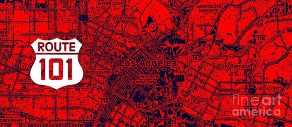 101 Digital Art - Los Angeles California Orange Map, Route 101 by Drawspots Illustrations