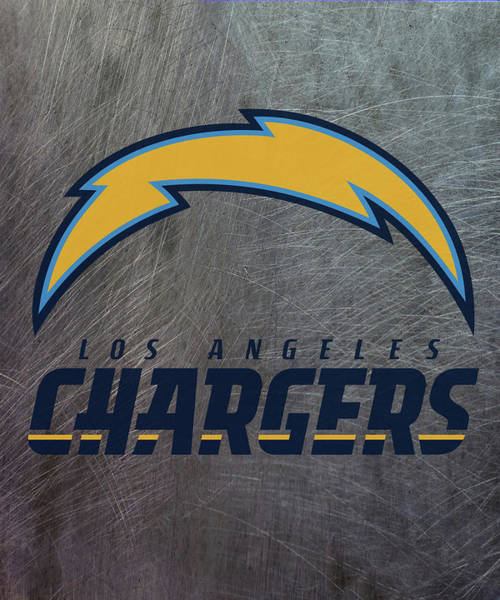 Mixed Media - Los Angeles Chargers On An Abraded Steel Texture by Movie Poster Prints
