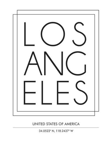 Trendy Mixed Media - Los Angeles, United States Of America - City Name Typography - Minimalist City Posters by Studio Grafiikka