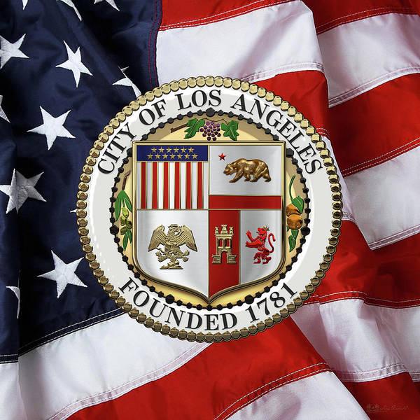 Digital Art - Los Angeles City Seal Over American Flag by Serge Averbukh