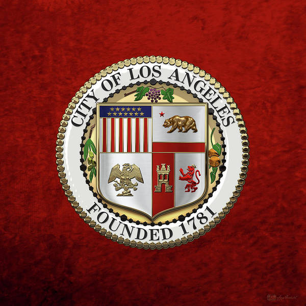 Digital Art - Los Angeles City Seal Over Red Velvet by Serge Averbukh