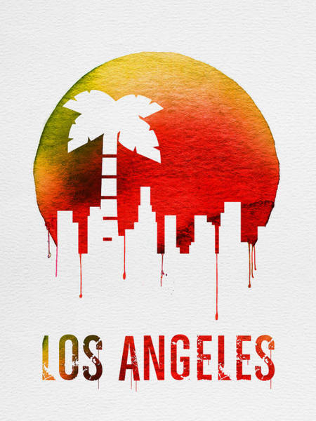 Dreamy Wall Art - Digital Art - Los Angeles Landmark Red by Naxart Studio