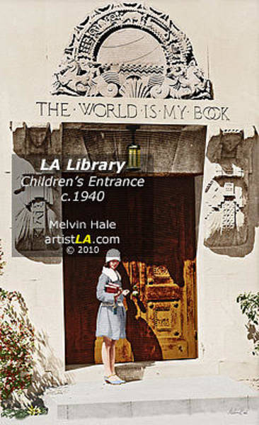 Wall Art - Painting - Los Angeles Library Circa 1940 by Melvin Hale ArtistLA