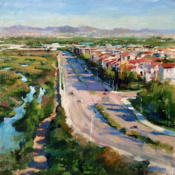 Wall Art - Painting - Los Angeles - Playa Vista From South Bluff Trail Road by Peter Salwen