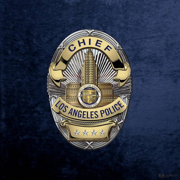 Digital Art - Los Angeles Police Department  -  L A P D  Chief Badge Over Blue Velvet by Serge Averbukh