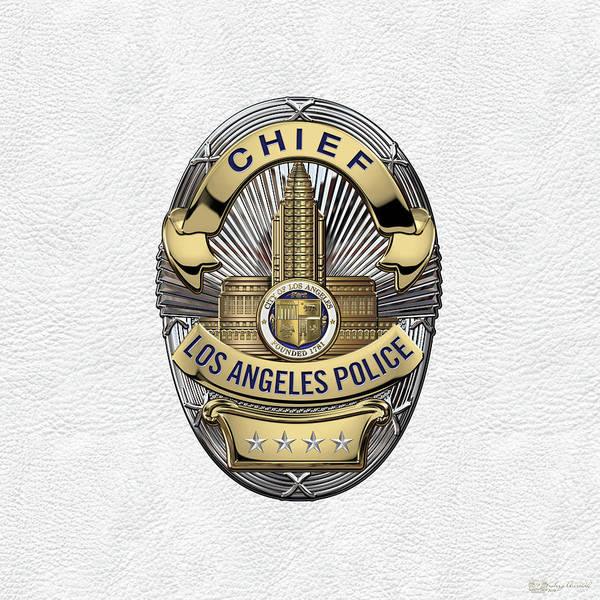 Digital Art - Los Angeles Police Department  -  L A P D  Chief Badge Over White Leather by Serge Averbukh