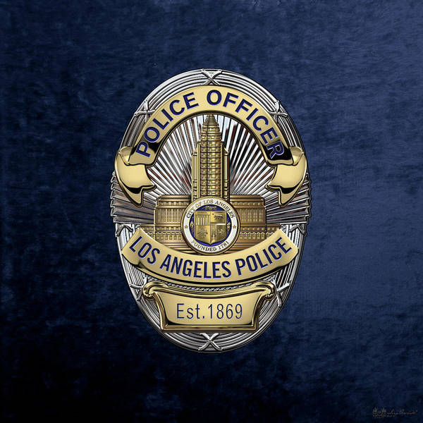 Digital Art - Los Angeles Police Department  -  L A P D  Police Officer Badge Over Blue Velvet by Serge Averbukh