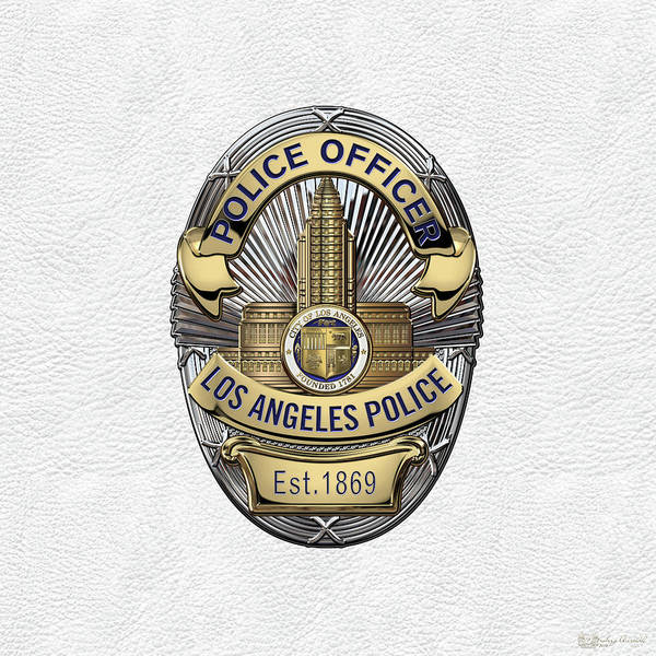 Digital Art - Los Angeles Police Department  -  L A P D  Police Officer Badge Over White Leather by Serge Averbukh