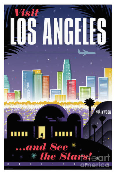 Wall Art - Digital Art - Los Angeles Poster - Retro Travel  by Jim Zahniser