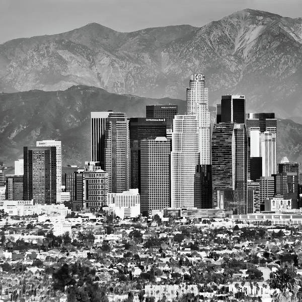 Los Angeles Skyline Photograph - Los Angeles Skyline And Mountain Landscape - Square 1x1 Monochrome by Gregory Ballos