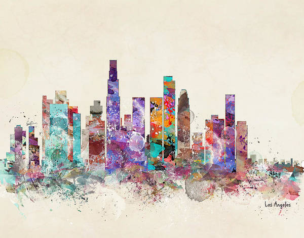 Los Angeles Painting - Los Angeles Skyline by Bri Buckley