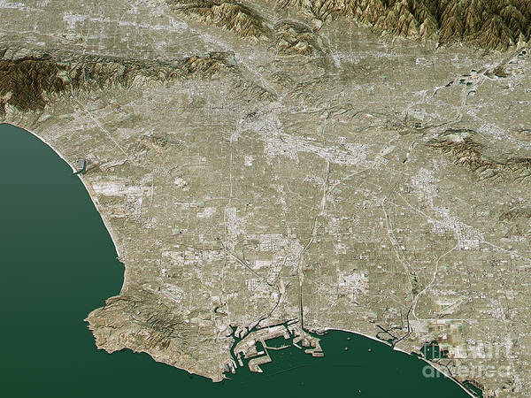 Wall Art - Digital Art - Los Angeles Topographic Map 3d Landscape View Natural Color by Frank Ramspott